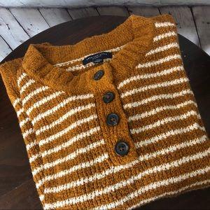 American Eagle Mustard Yellow Striped Sweater